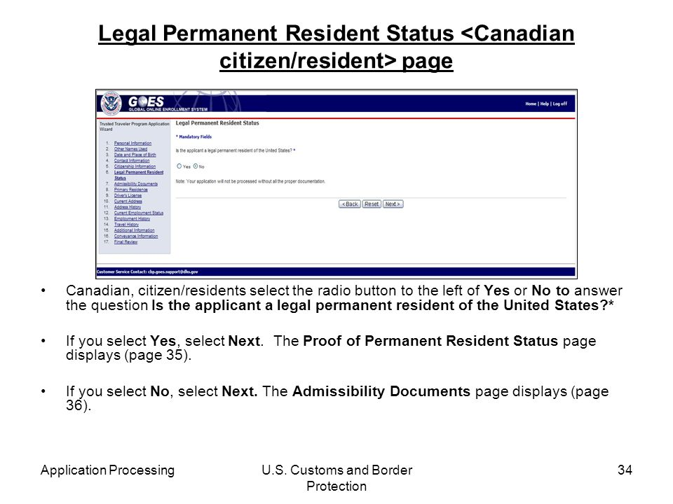 Legal Permanent Resident Status <Canadian citizen/resident> page