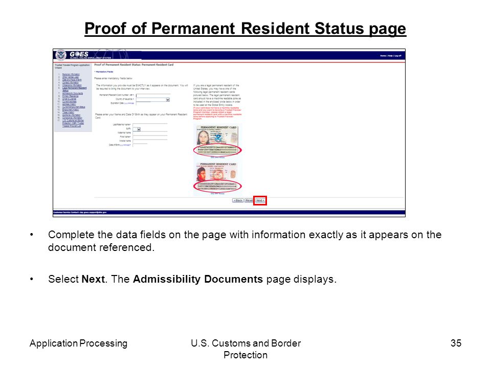 Proof of Permanent Resident Status page