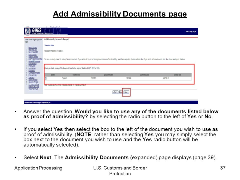 Add Admissibility Documents page