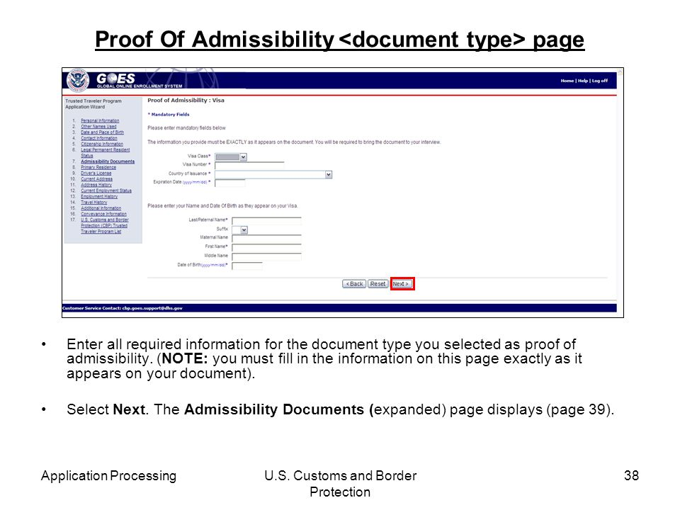 Proof Of Admissibility <document type> page