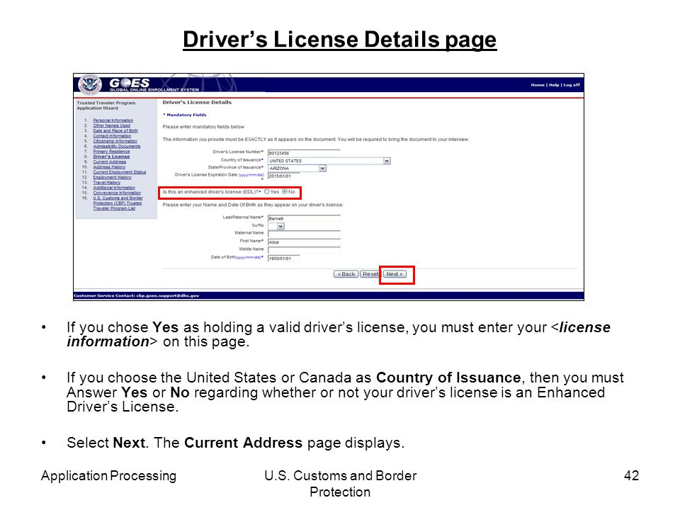 Driver's License Details page