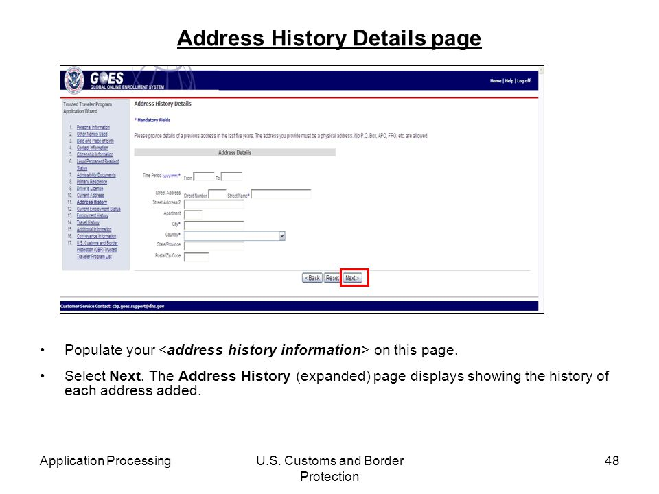 Address History Details page