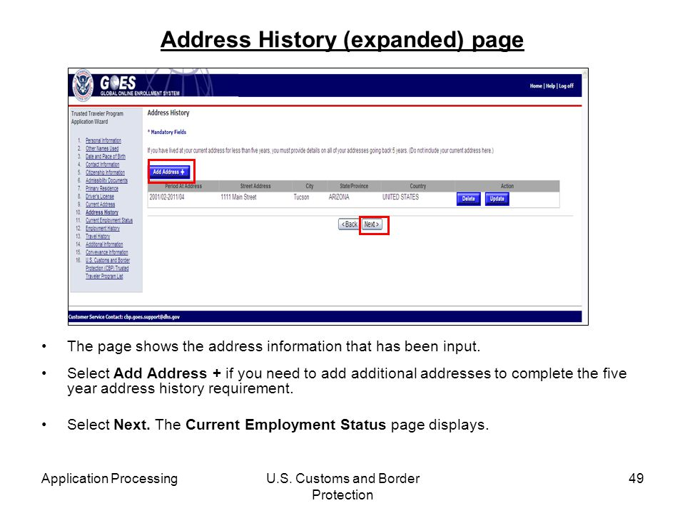 Address History (expanded) page