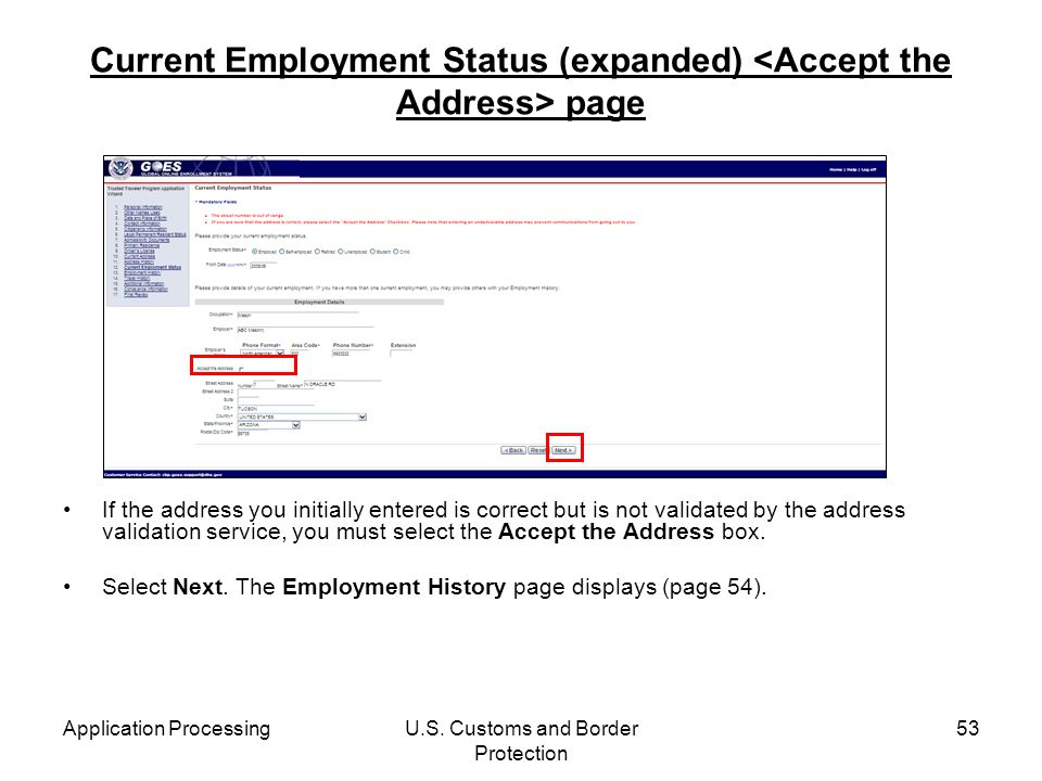 Current Employment Status (expanded) <Accept the Address> page