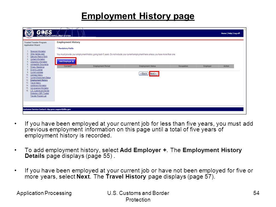 Employment History page