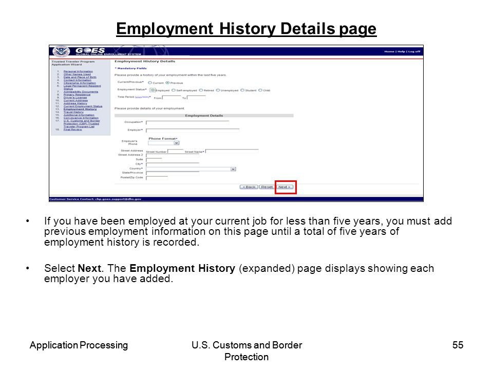 Employment History Details page
