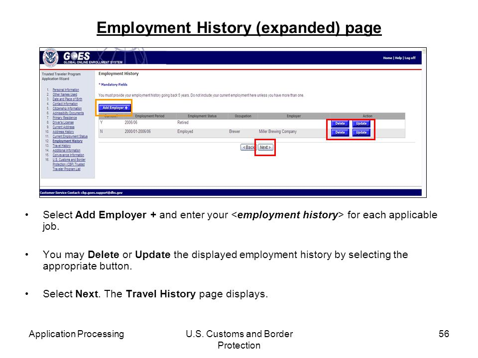 Employment History (expanded) page