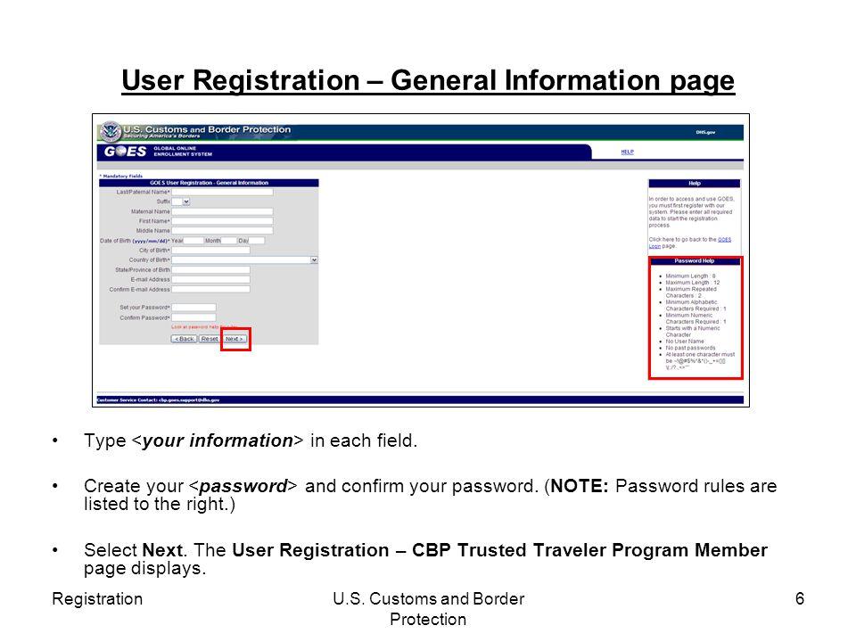 User Registration – General Information page