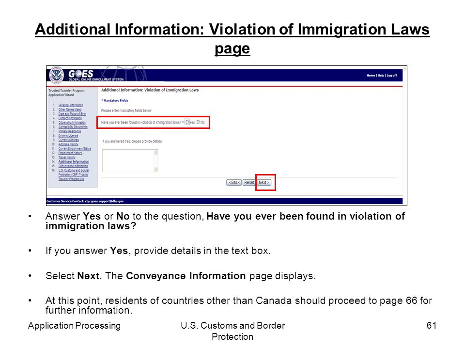 Additional Information: Violation of Immigration Laws page