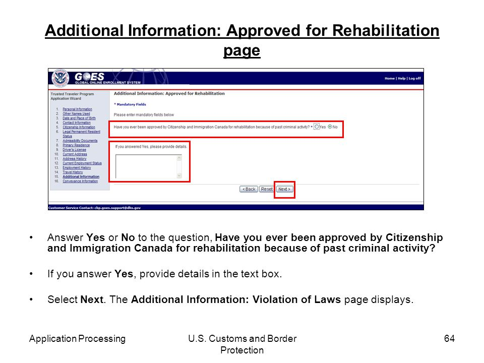 Additional Information: Approved for Rehabilitation page