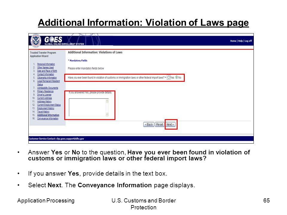 Additional Information: Violation of Laws page