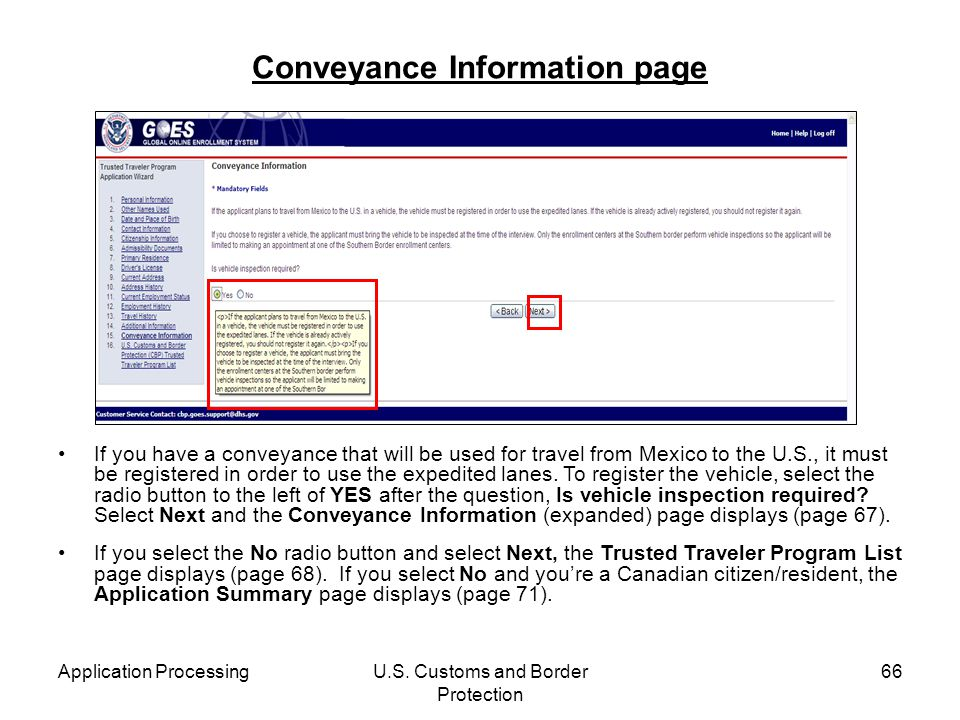 Conveyance Information page