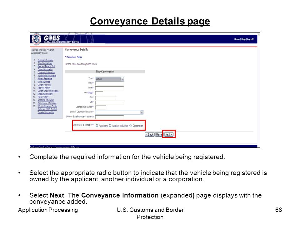 Conveyance Details page