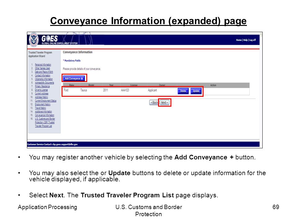 Conveyance Information (expanded) page