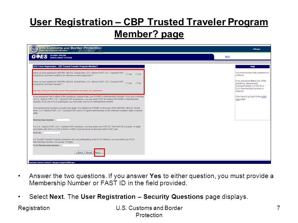 User Registration – CBP Trusted Traveler Program Member page