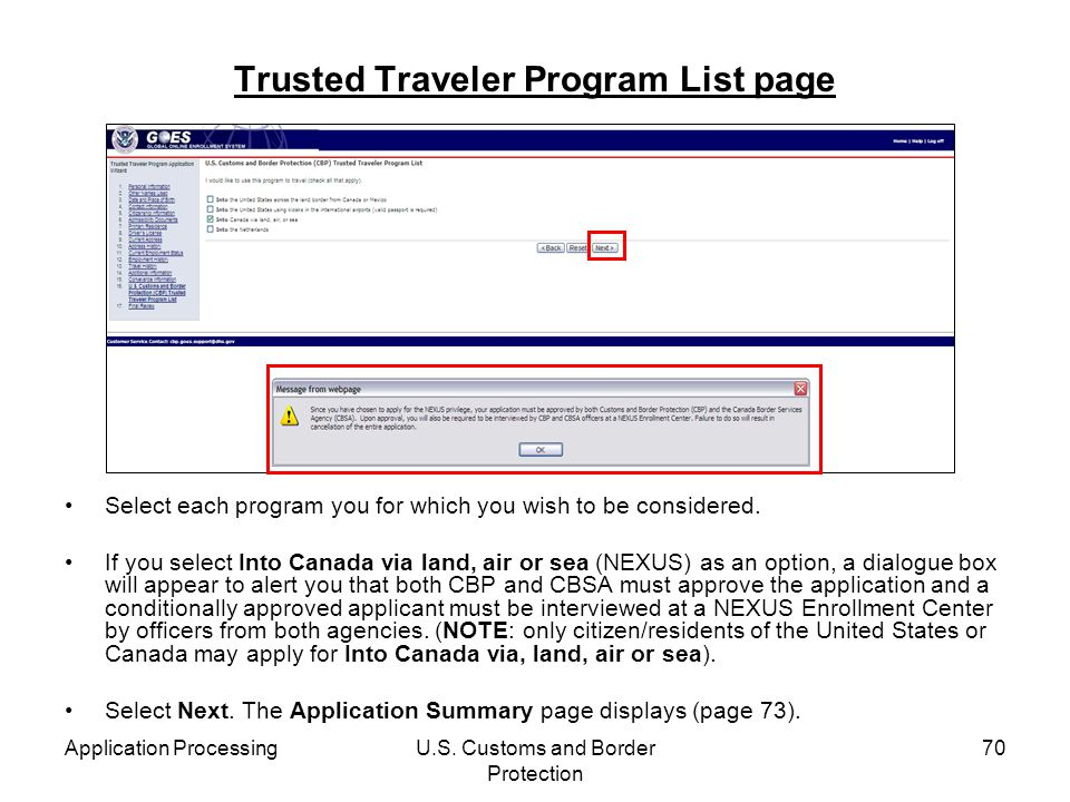Trusted Traveler Program List page