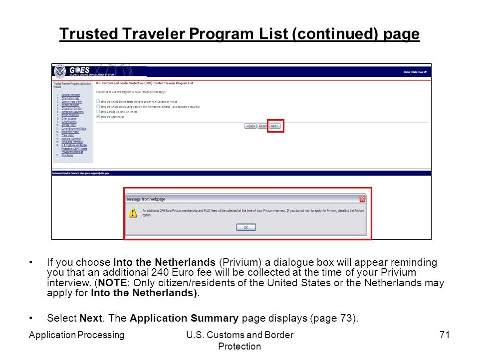 Trusted Traveler Program List (continued) page