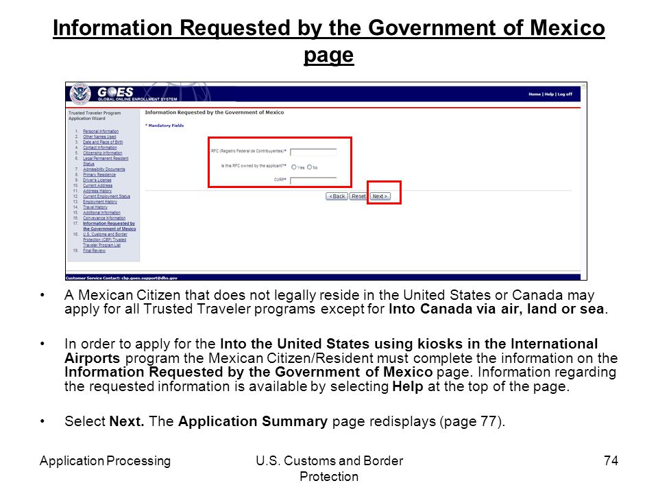 Information Requested by the Government of Mexico page