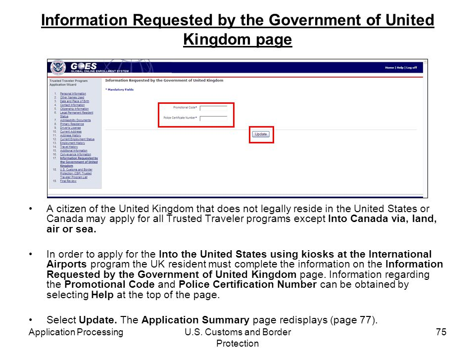 Information Requested by the Government of United Kingdom page