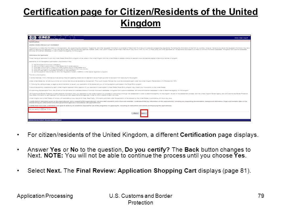 Certification page for Citizen/Residents of the United Kingdom