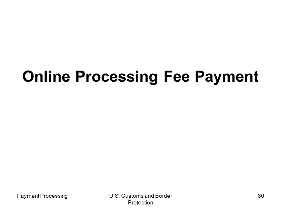 Online Processing Fee Payment