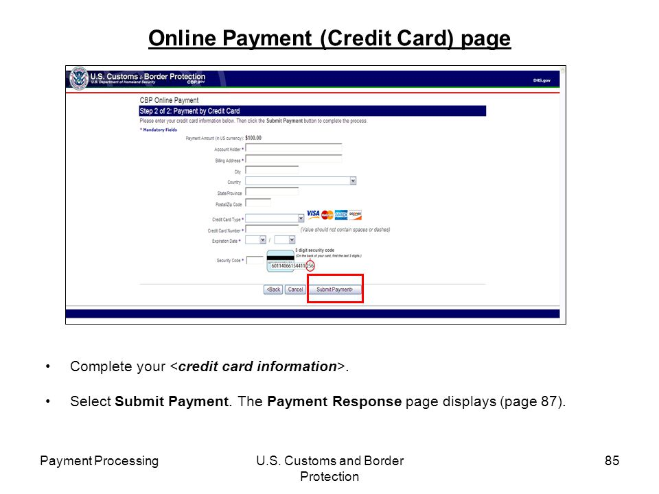 Online Payment (Credit Card) page