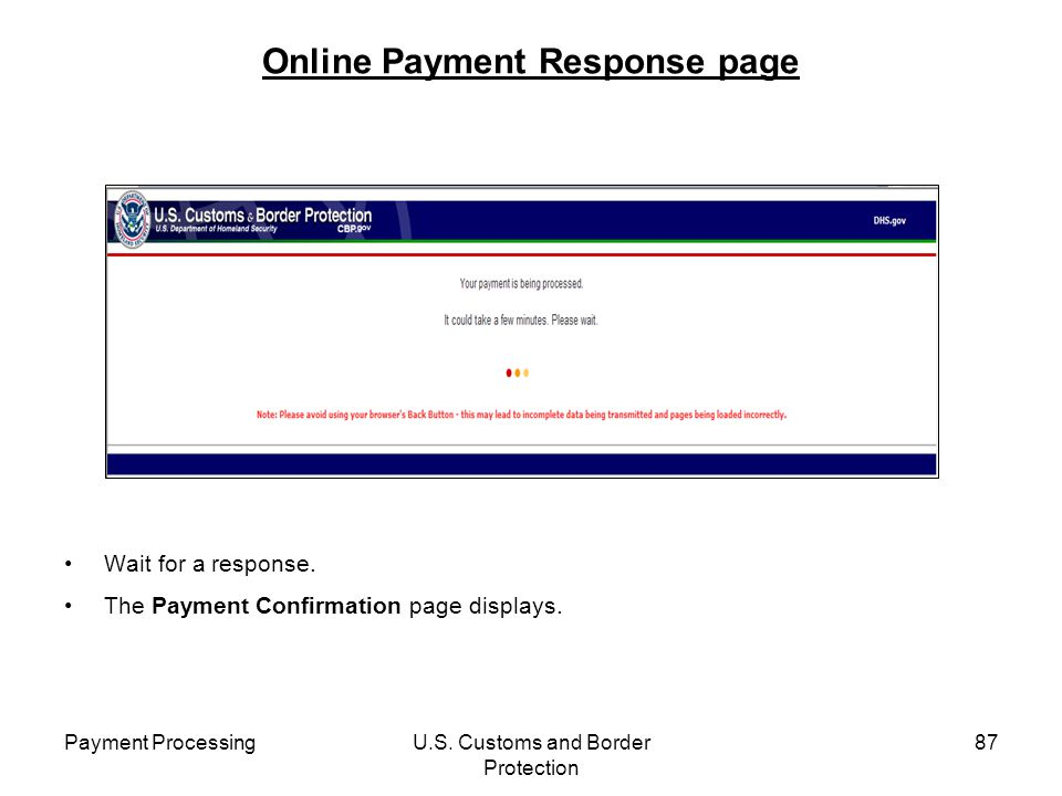 Online Payment Response page