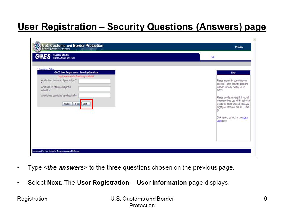 User Registration – Security Questions (Answers) page