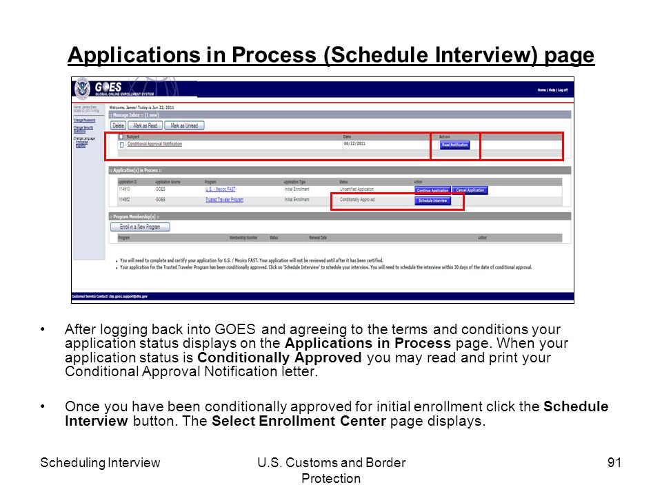 Applications in Process (Schedule Interview) page