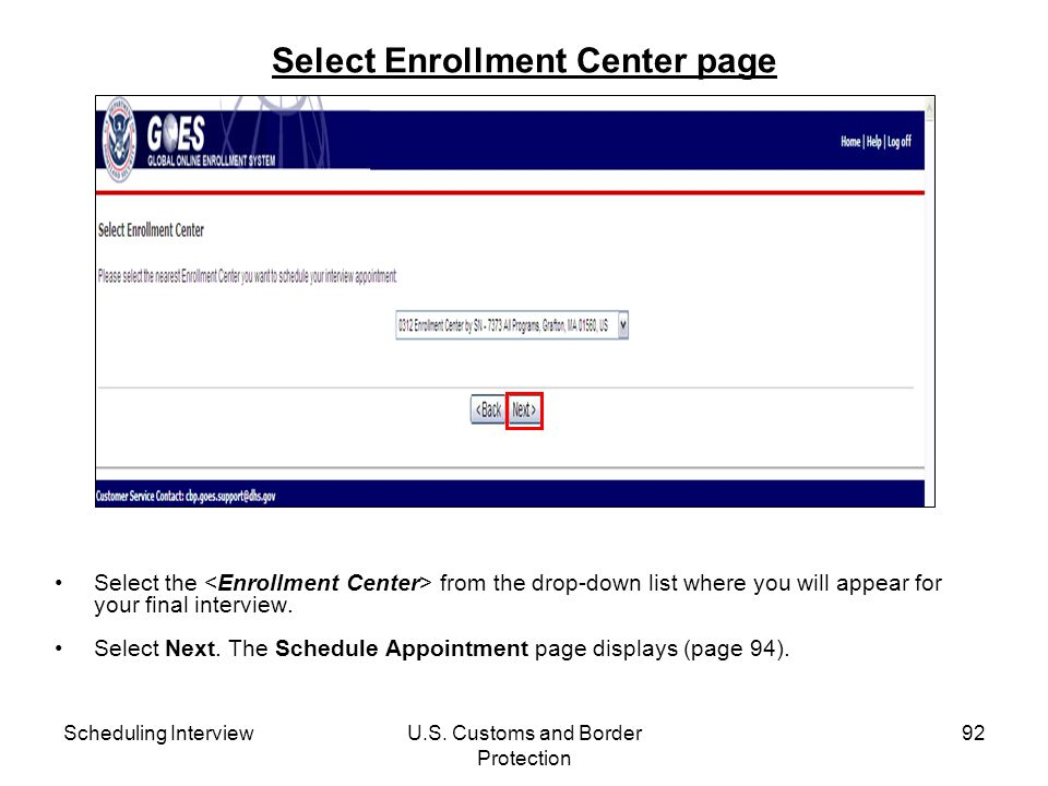 Select Enrollment Center page