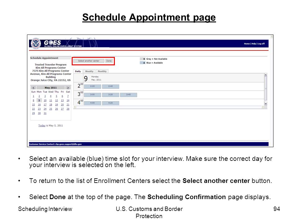 Schedule Appointment page