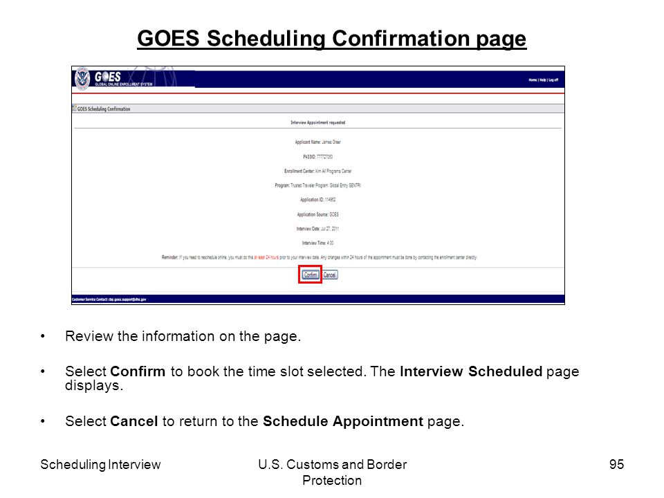 GOES Scheduling Confirmation page
