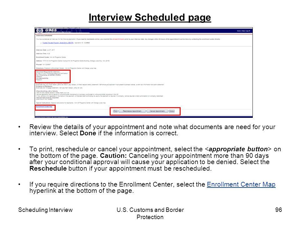 Interview Scheduled page