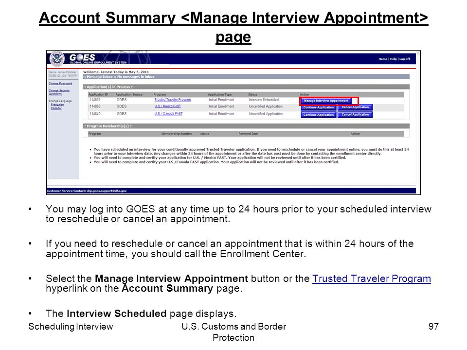 Account Summary <Manage Interview Appointment> page