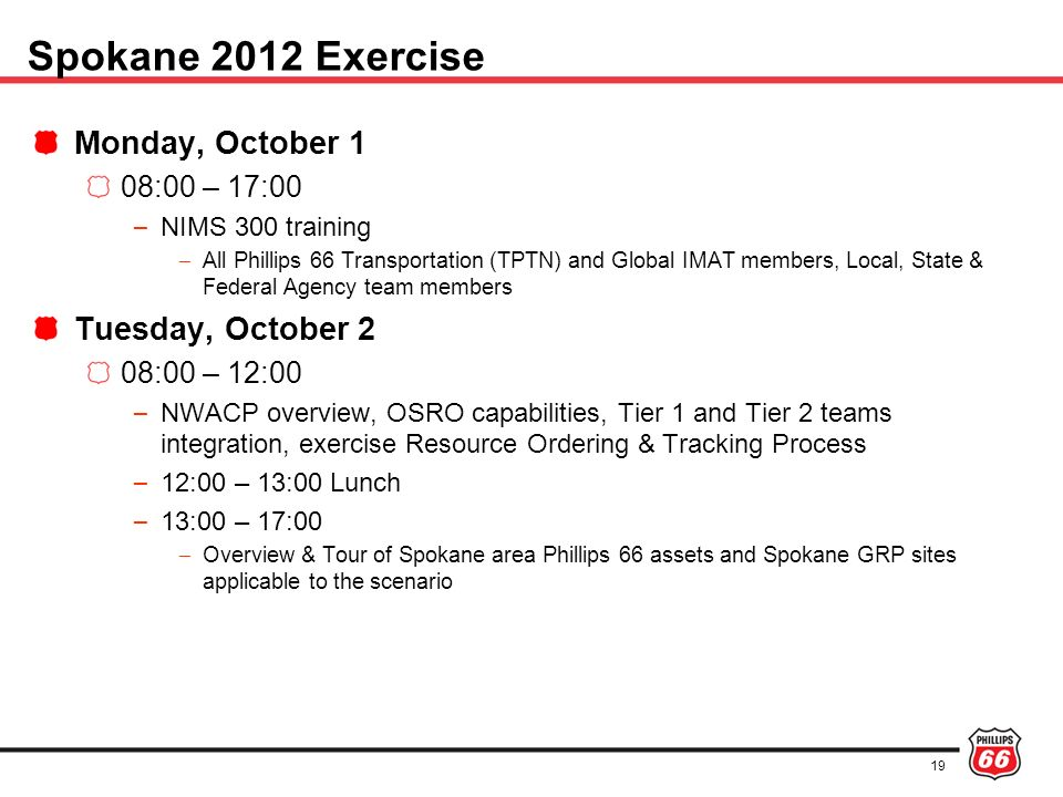 Spokane 2012 Exercise Monday, October 1 Tuesday, October 2