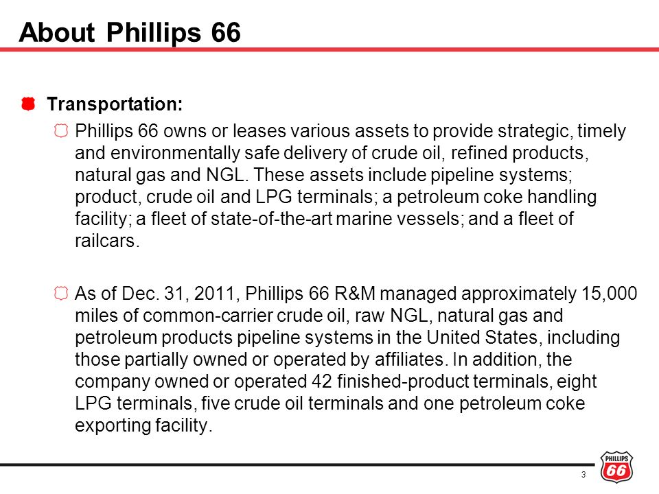 About Phillips 66 Transportation:
