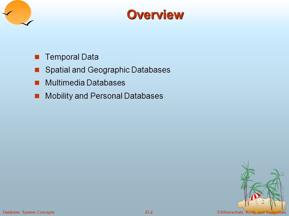 Overview Temporal Data Spatial and Geographic Databases
