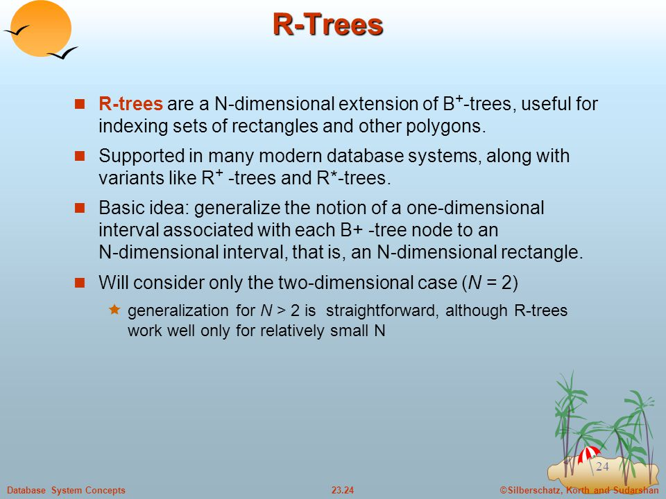 R-Trees R-trees are a N-dimensional extension of B+-trees, useful for indexing sets of rectangles and other polygons.