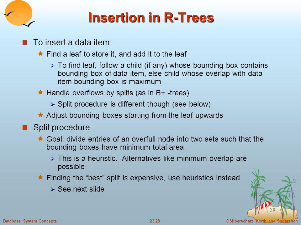 Insertion in R-Trees To insert a data item: Split procedure:
