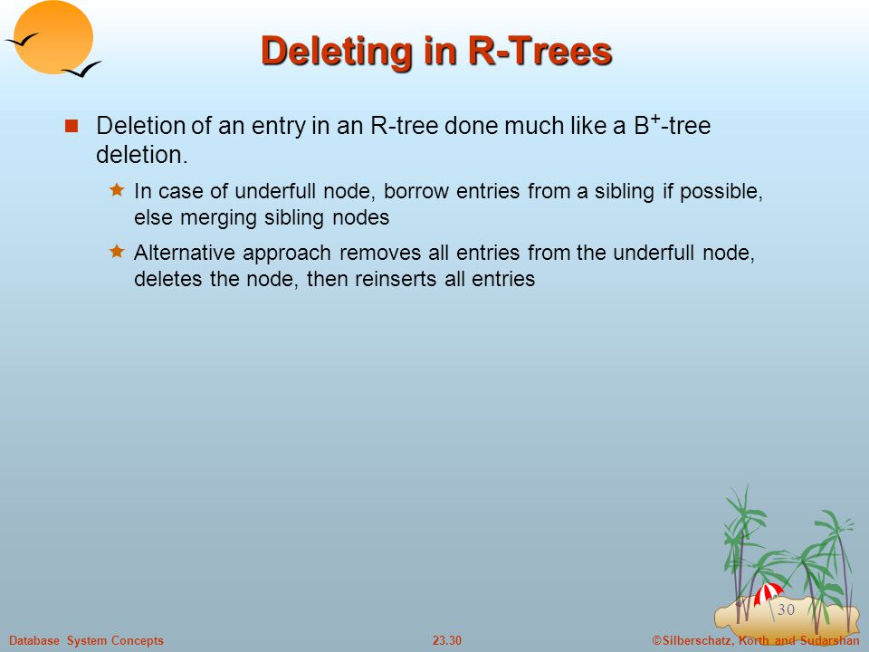 Deleting in R-Trees Deletion of an entry in an R-tree done much like a B+-tree deletion.