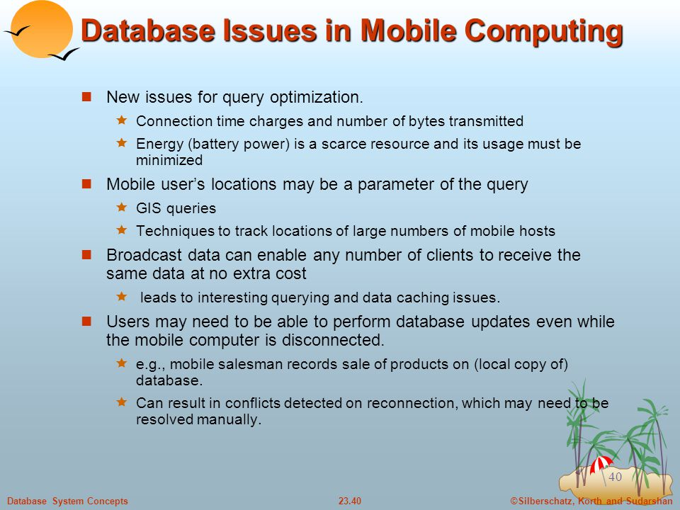 Database Issues in Mobile Computing