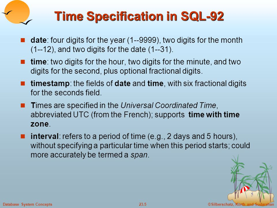 Time Specification in SQL-92