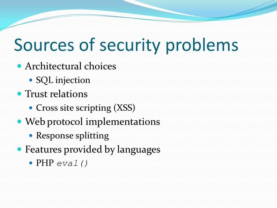 Sources of security problems