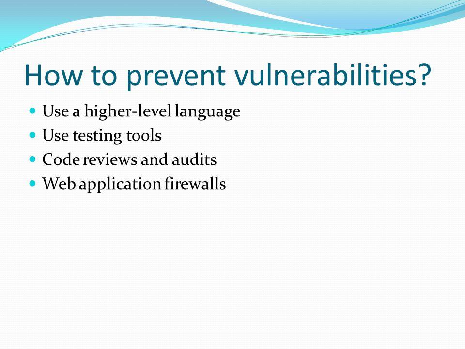 How to prevent vulnerabilities