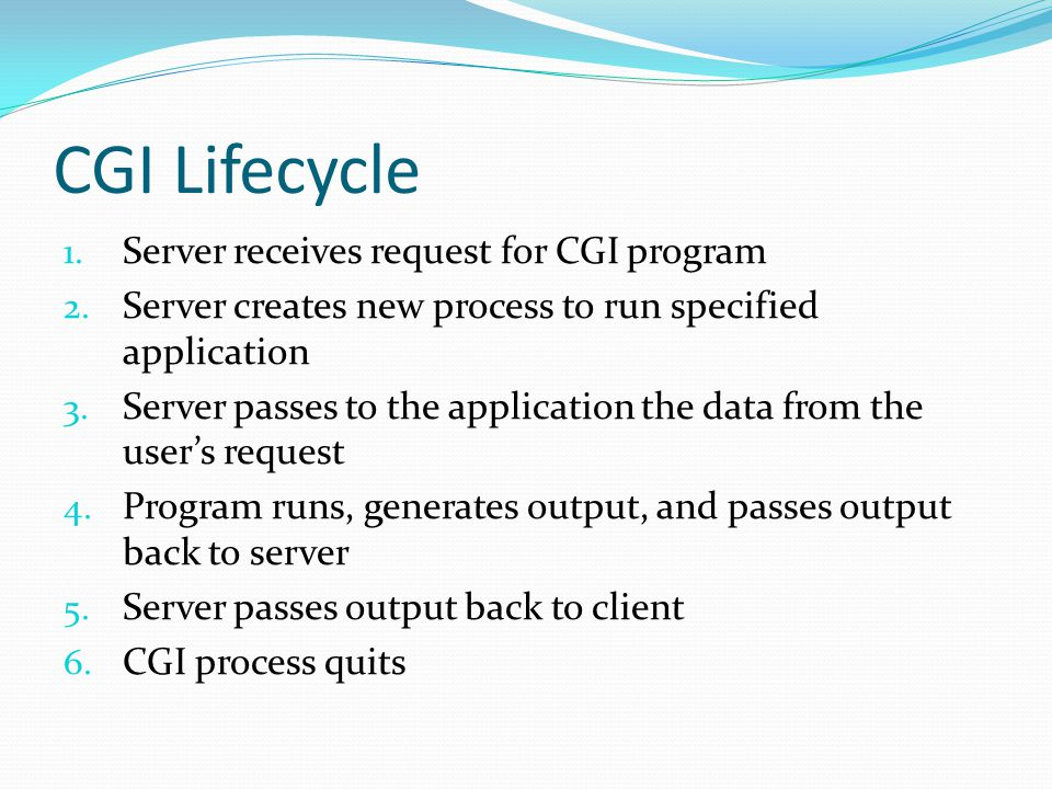 CGI Lifecycle Server receives request for CGI program