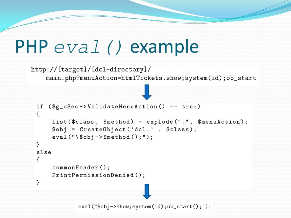 PHP eval() example