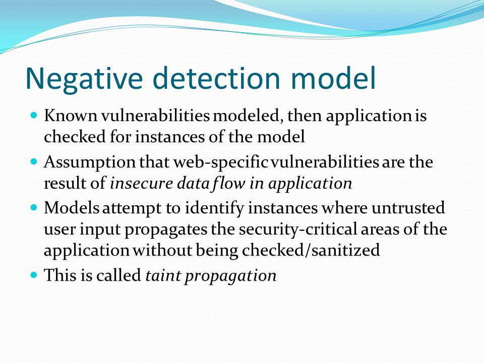 Negative detection model