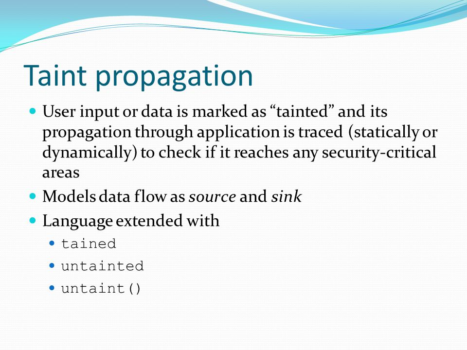 Taint propagation