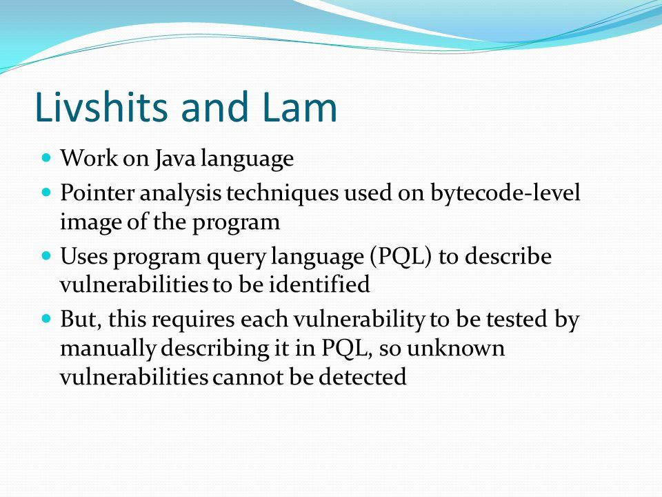 Livshits and Lam Work on Java language