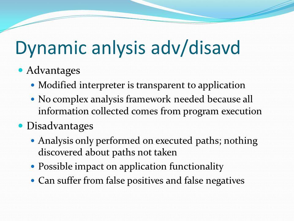 Dynamic anlysis adv/disavd